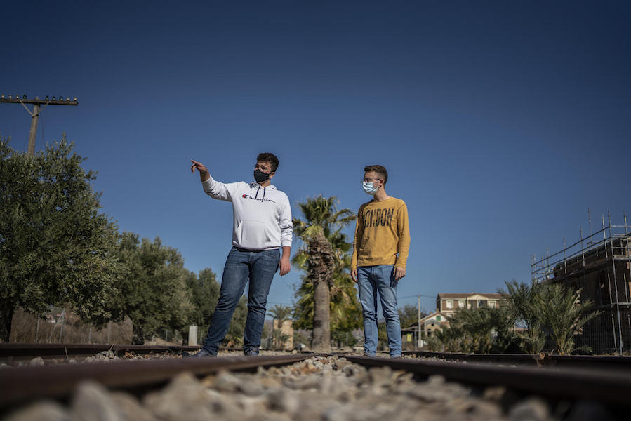 From left: In Spain, Juan, 17, and a friend set out to collect garbage from the hillsides surrounding their city, Almería.