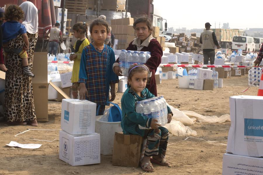 Five days after the village of Ibrahim Khalil was retaken, UNICEF, IOM, WFP and UNFPA provided emergency aid supplies to more than 800 displaced families who had taken shelter in the village. UNICEF provided water and hygiene supplies to about 4,800 peopl