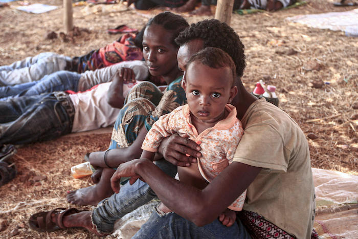 Refugees from Ethiopia's embattled Tigray region find shelter at the Um Raquba camp in Sudan's eastern Gedaref province.
