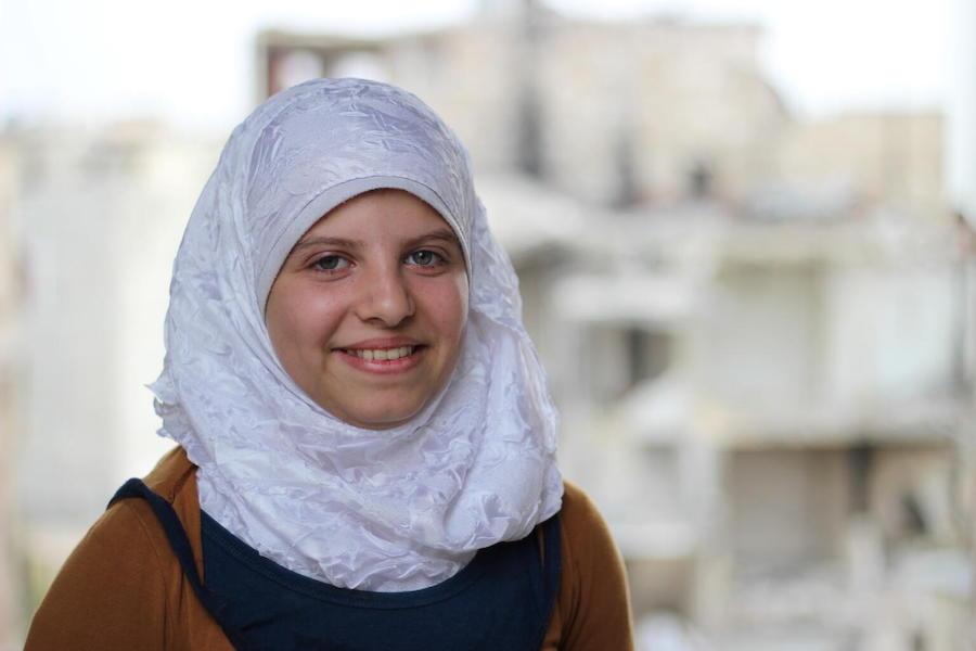 Twelve-year-old Saja in Aleppo, Syria in 2016.