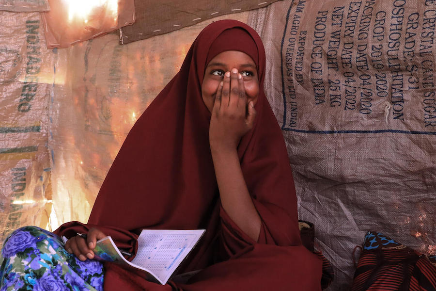 In 2020, with funding from the UK government, UNICEF provided 20,000 solar-powered radios for use by an estimated 72,000 children in remote villages in Ethiopia, including 14-year-old Farhia.