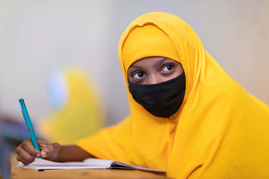 Sumaya, 14, is happy to be back in school after an 8-month-long shutdown due to COVID-19.