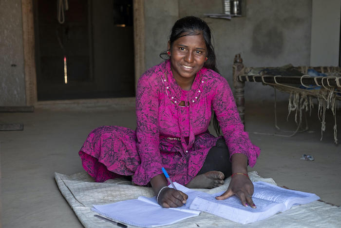 Anjali Dodiyar Meena, 15, studying at home in Sanjanpura village, Sagwara Block, Dungarpur District, Rajasthan, India.