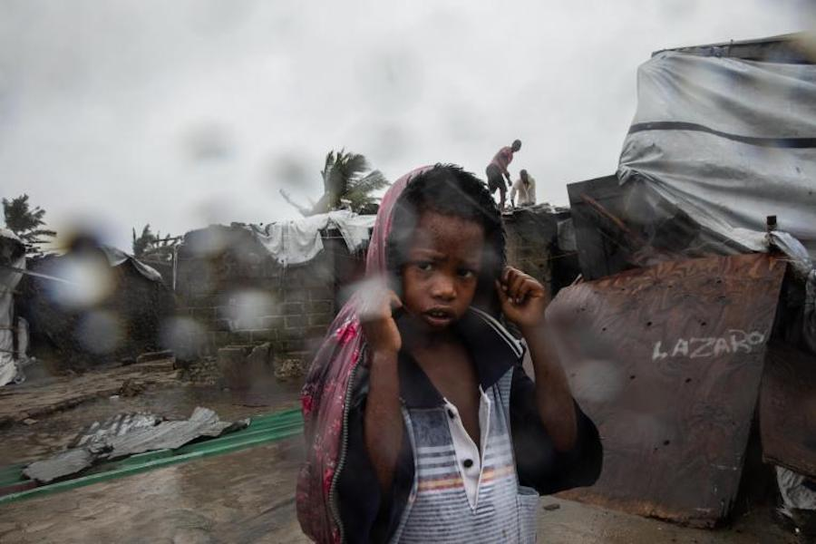 A child from the Praia Nova neighborhood in Beira, one of the areas of Sofala province, Mozambique hit hardest by Cyclone Eloise.