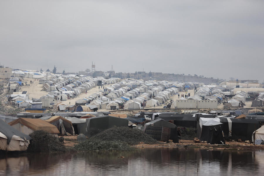 On 19 January 2021, a view of a flooded area in Kafr Losin Camp in northwest Syrian Arab Republic.