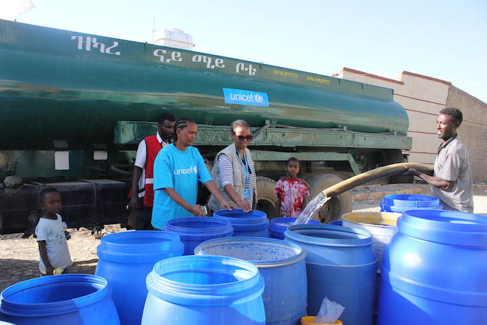 UNICEF and partners deliver safe water by truck to communities in need inside Ethiopia's Tigray region.