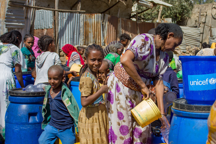 UNICEF provides safe water for drinking, cooking and personal hygiene to displaced Tigrayans sheltering at a secondary school in Shire.
