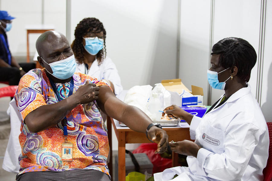 On Monday March 1, 2021, health worker Phénix Azian is one of the first to receive the COVID-19 vaccine in Côte d'Ivoire.