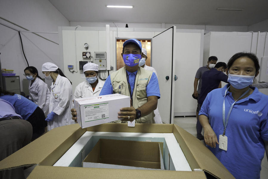 Cambodia takes delivery of 324,000 doses of the AstraZeneca COVID-19 vaccine on March 2, becoming one of the first countries in the Western Pacific region to receive vaccines through the COVAX Facility.