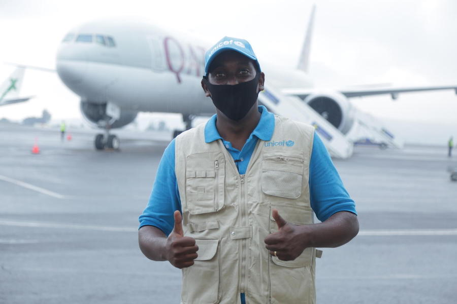 On 3 March 2021, UNICEF Communication Specialist Steve Nzaramba is photographed at Kigali International Airport where a shipment containing 240,000 doses of the COVID-19 vaccines for the COVAX Facility arrived in Rwanda.