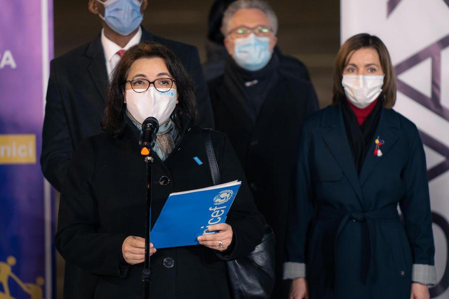 On 4 March 2021, Maha Damaj, UNICEF Representative to Moldova (left), speaks at a media event dedicated to the arrival of COVID-19 vaccines to Moldova, next to the President of Moldova, Maia Sandu (right).
