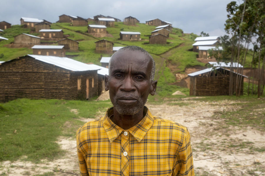 Community leader Thomas Misego, 62, in Gisheke, Burundi, where villagers rebuilt their homes after a series of landslides devastated the area.