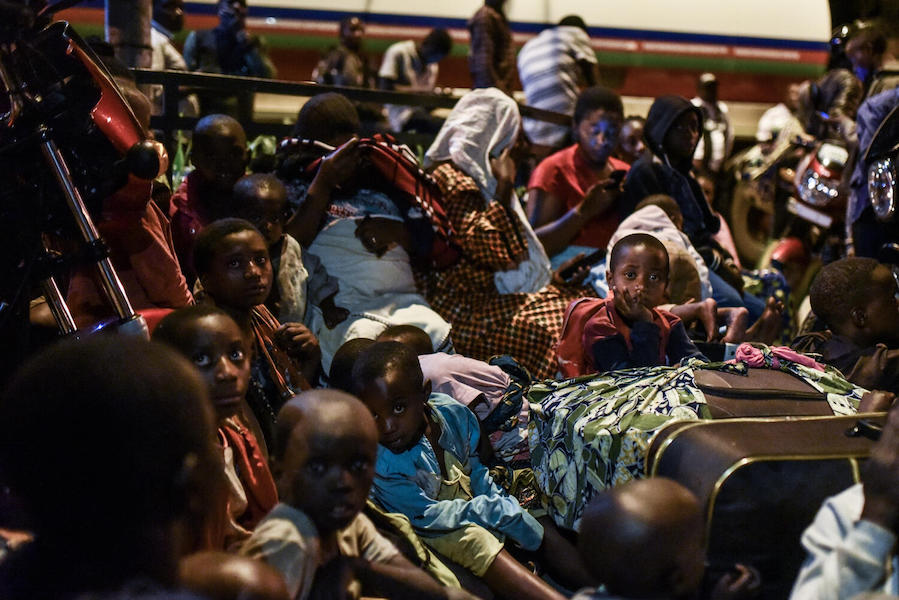 In the eastern city of Goma, Democratic Republic of the Congo, families displaced from their homes crowded together for safety after a volcanic eruption on May 22, 2021.