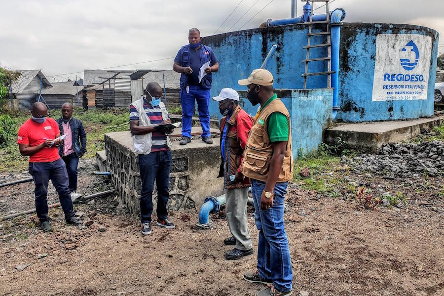On May 25, 2021 in Goma, DR Congo, UNICEF is installing chlorination water points and strengthening its epidemiological surveillance for cholera, especially in Goma following the return of thousands of residents after a May 22 volcanic eruption.