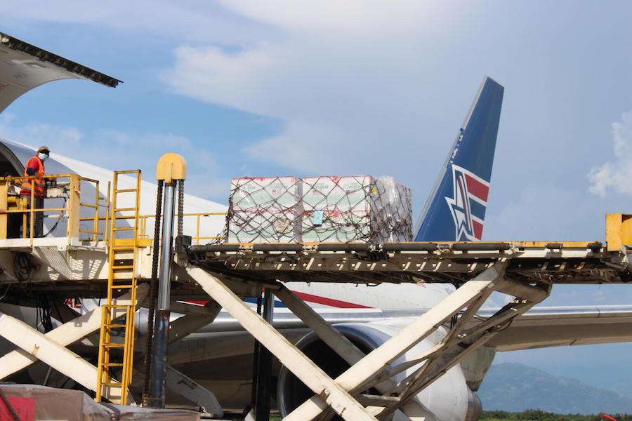 Arrival of 1.5 million doses of COVID-19 vaccines donated by United States Government to Honduras via COVAX's dose-sharing mechanism on June 27, 2021 in Armando Escalón Espinal Air Base, San Pedro Sula Airport, Honduras.