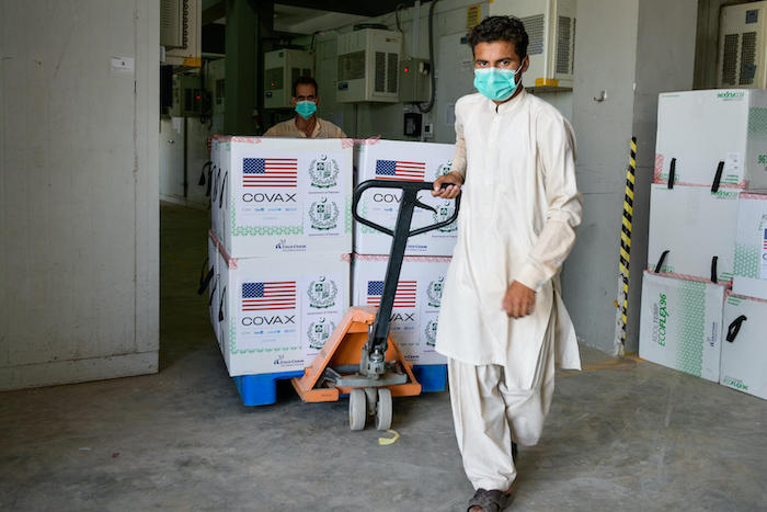 2.5 million doses of Moderna COVID-19 vaccines supplied through the COVAX Facility's dose-sharing mechanism and donated by the U.S. government arrive in Islamabad, Pakistan on July 2, 2021.