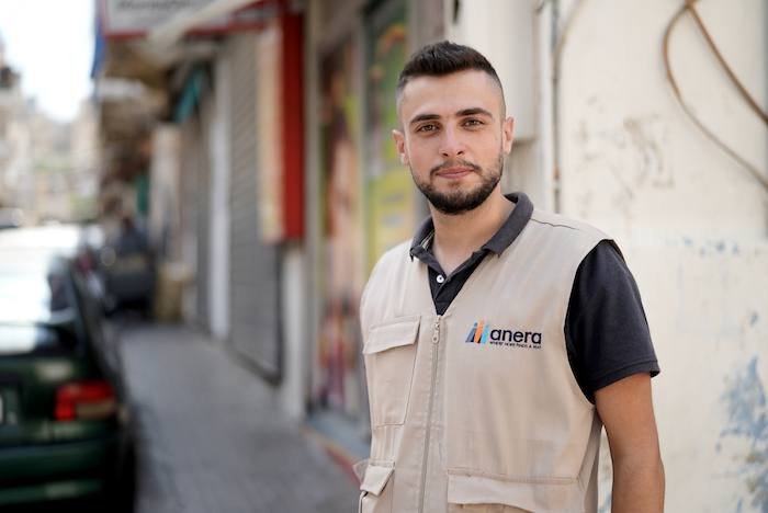 Mhammad Hassoun, one of 1,900 young people in Lebanon mobilized by UNICEF to support street clean-ups, minor rehabilitation of damaged homes in the wake of last year's Beirut port disaster.