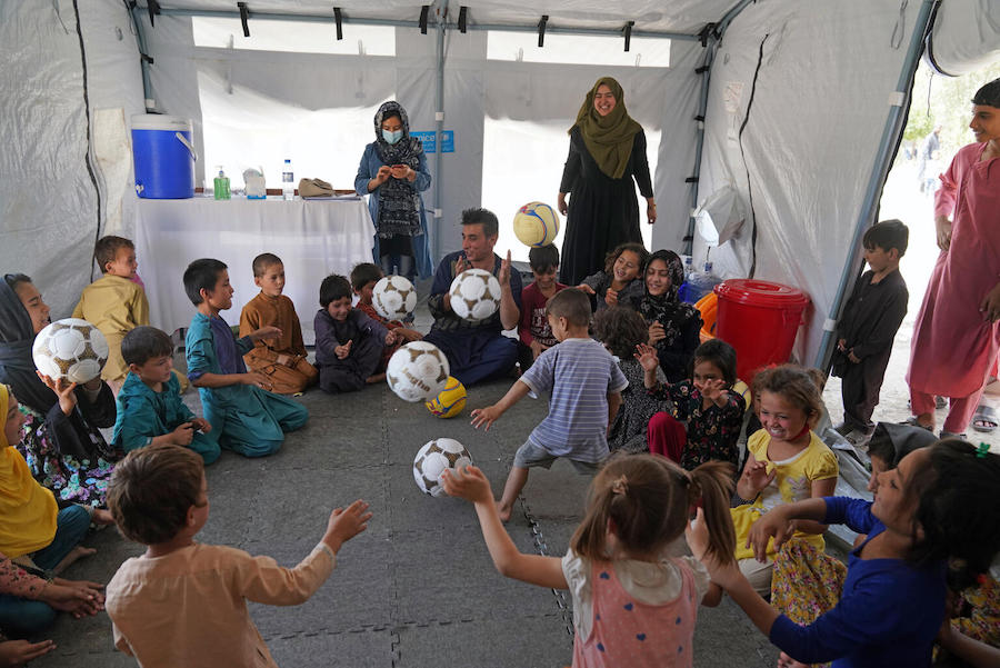 On August 14, 2021, children participate in a recreational activity at a UNICEF Child-Friendly Space at Peer Mohammad Kakar high school where more than 400 families are sheltering having fled instability and conflict to Kabul.
