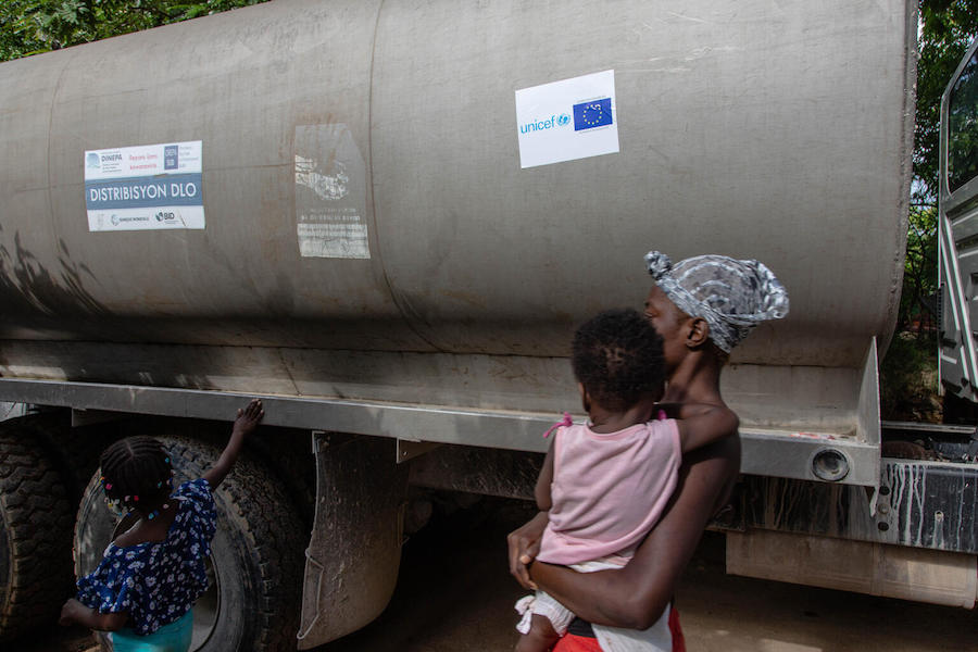 On August 18, 2021, in Marceline, near Haiti's Camp Perrin district, a truck fills one of the first four water stations supported by UNICEF.