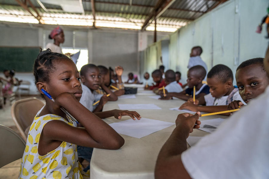 UNICEF and partners have established temporary classrooms where students can continue their educations while schools damaged in Haiti's August 14, 2021 earthquake are being repaired.