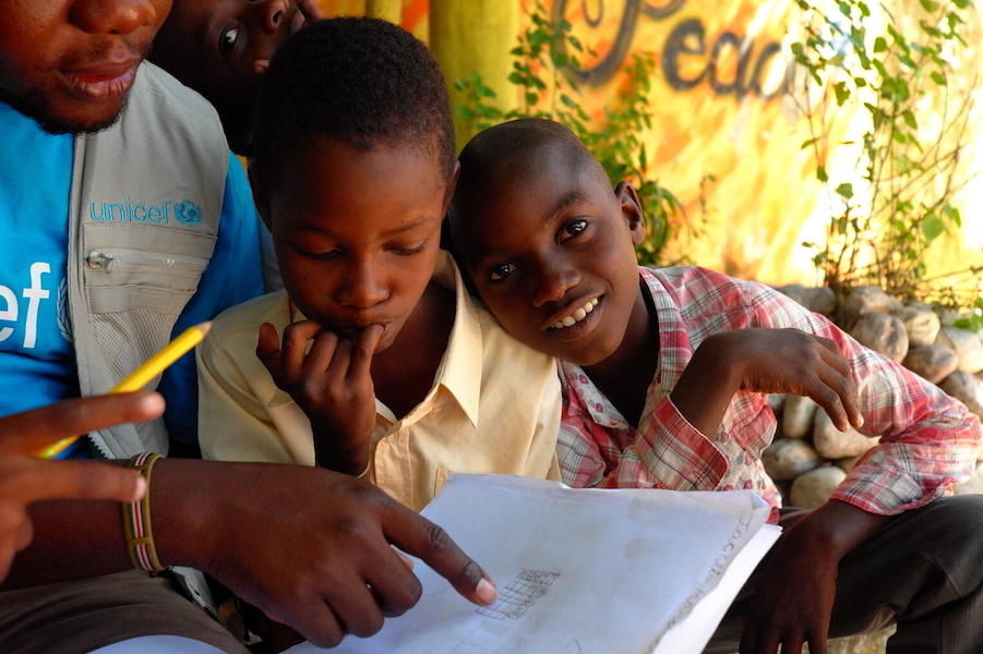 In Les Cayes, Haiti, children are benefitting from psychosocial and educational activities at this center supported by UNICEF and IDEJEN in the aftermath of the August 14, 2021 earthquake.