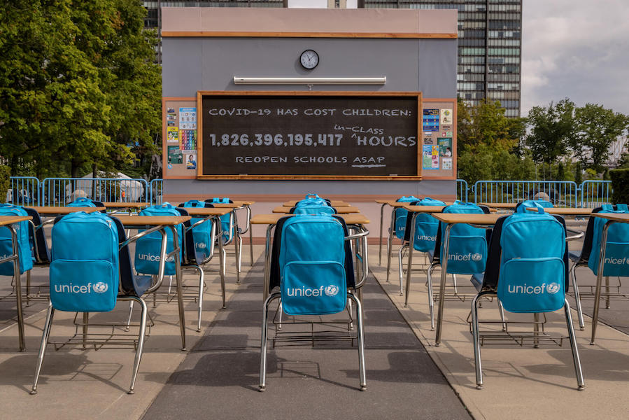 """On September 16, 2021, a view of UNICEF's """"No Time to Lose"""" installation at United Nations Headquarters in New York, United States of America."""