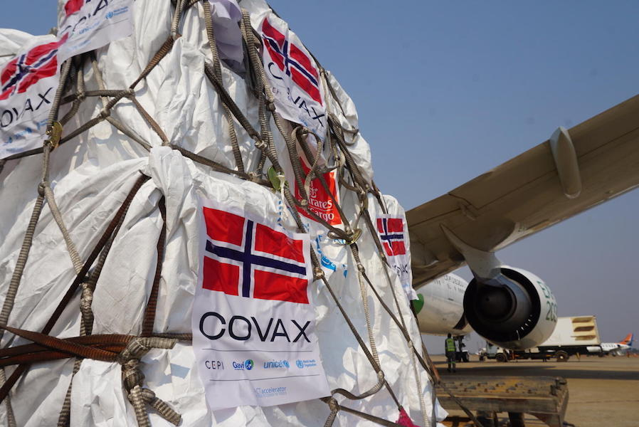 On September 17, 2021, 124,500 AstraZeneca COVID-19 vaccine doses donated by Norway through the COVAX Facility arrive at the airport in Lusaka, Zambia.