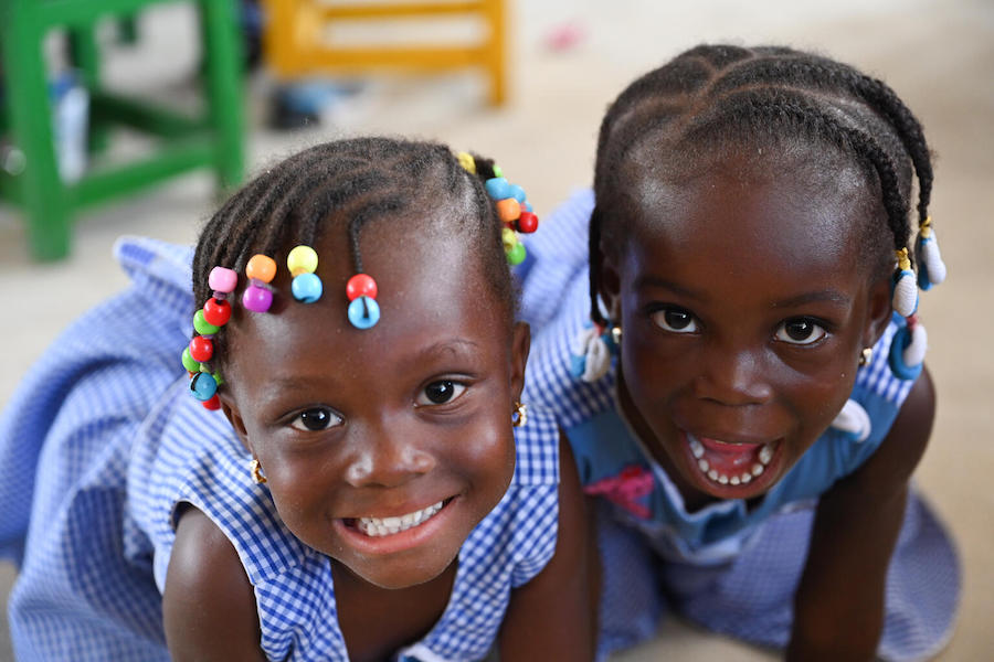 Children, happy for the start of the school year in September 2021, in Yopougon, a suburban of abidjan, in the south of Côte d'Ivoire.
