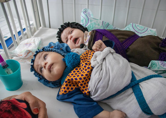 In Afghanistan on September 28, 2021, 4-month old twins Aisha and Youssef are being provided with medical care and therapeutic food at the UNICEF-supported Inpatient Therapeutic Feeding Center in Herat Regional Hospital.