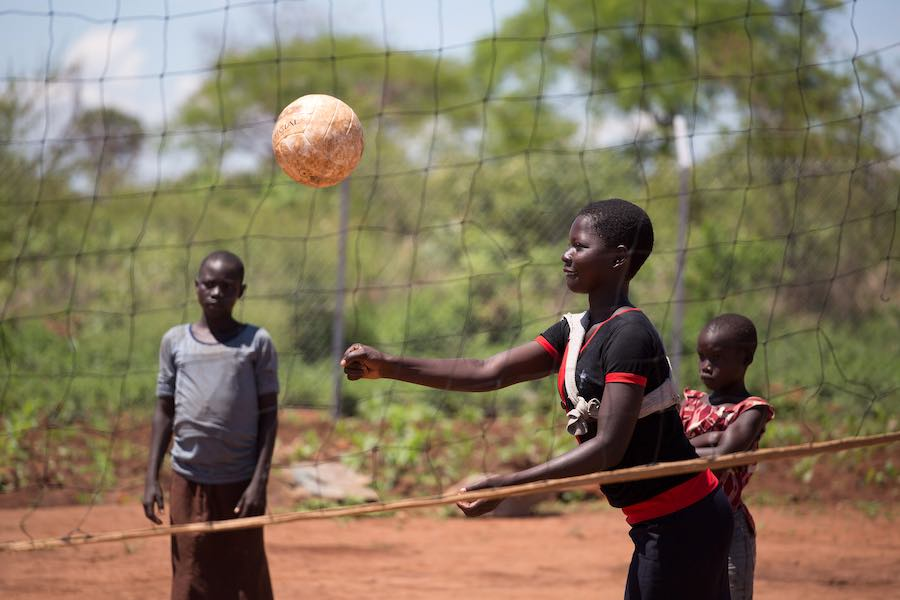 May 16, 2017. Girls play volleyball at a child friendly space in Bidi Bidi Refugee Settlement. Conflict and famine in South Sudan have led to an exodus of refugees into Uganda. Picture: JAMES OATWAY