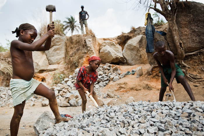 Child laborers at a rock quarry near the town of Makeni, Bombali District, Sierra Leone.
