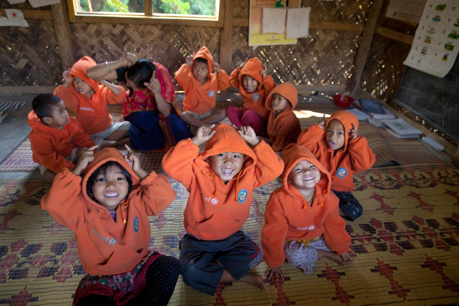 Students attend pre-primary classes at Shilchari Para Kendra in Rangamat.
