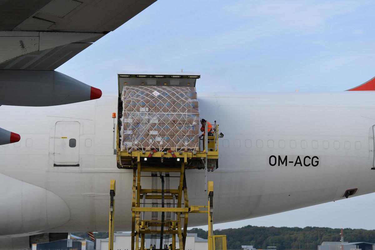 On 23 September 2014, UNICEF Ebola household protection kits bound for Liberia are loaded onto a Boeing 747 cargo flight in Billund Airport in Denmark