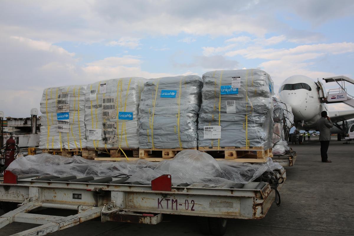 UNICEF emergency relief supplies arrive in Kathmandu, Nepal. © UNICEF/NYHQ2015-1058/Nybo