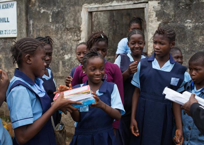 UNICEF distributed free learning kits to 1.8 million children across Sierra Leone in May 2015 to encourage children to return to classes in the midst of the worst Ebola outbreak in history.