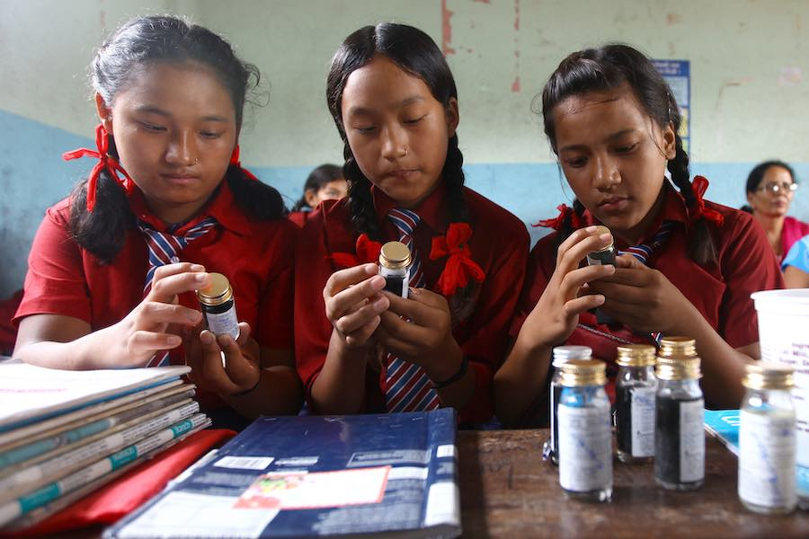 Students at Shree Pancha Secondary School in Chhauni area of Kathmandu test water quality. In response to the reports of cholera cases in Kathmandu Valley, UNICEF responded quickly with water, sanitation and hygiene campaign to support the Government of N