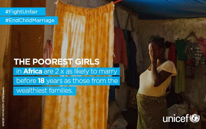 The poorest girls in Africa are 2x as likely to marry before 18.