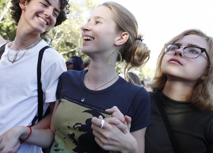 On 20 September 2019 in New York City, youth climate activists join in a demonstration calling for global action to combat climate change.