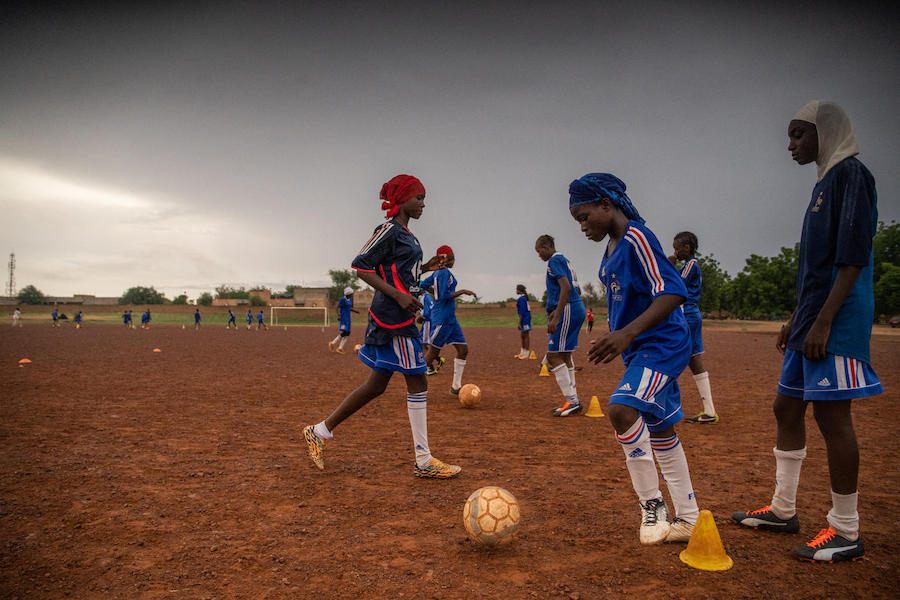 A UNICEF-supported program linking soccer and academics keeps girls in school in Niamey, Niger. Niger has the highest rate of child marriage in the world.