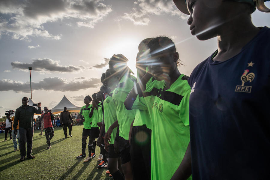 Young girls take part in a UNICEF-supported football tournament in Niamey, Niger in October 2019.