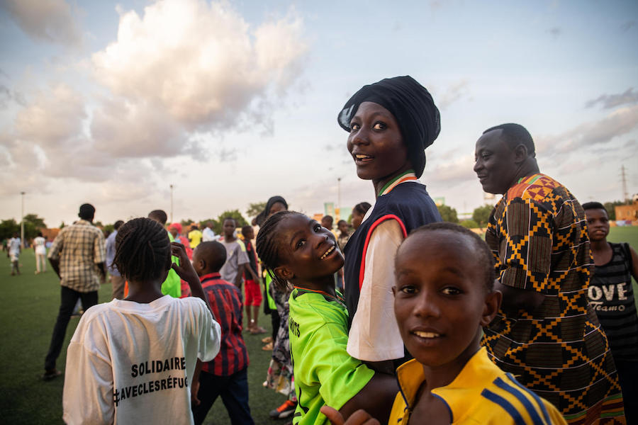 Young girls take part in a UNICEF-supported football tournament in Niamey, Niger.
