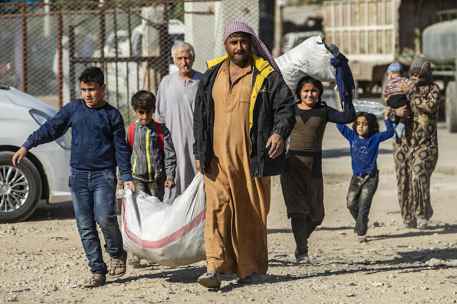 In October 2019, families fleeing escalating violence in northeast Syria continue to arrive in Tal Tamar.