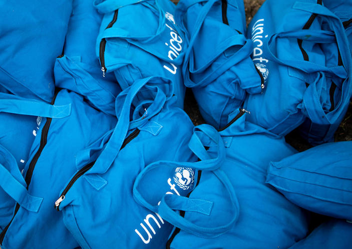 UNICEF dignity kits filled with menstrual supplies help adolescent girls manage their menstrual periods so they don't have to stay home from school and miss out on education.