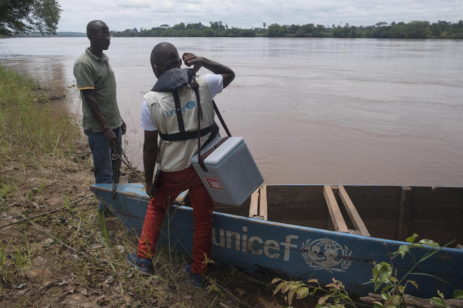 On November 5, 2019, a mobile UNICEF vaccination team travels by boat on the Kasai River in the Democratic Republic of the Congo to reach remote villages.