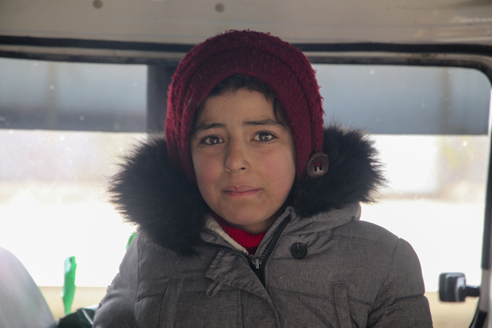Nour, 11, had to flee her home village in Antarib due to escalating violence in northwest Syria.