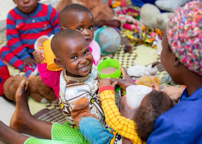 Children play at the UNICEF-supported cross-border early childhood development center in Rubavu, Rwanda in 2020.