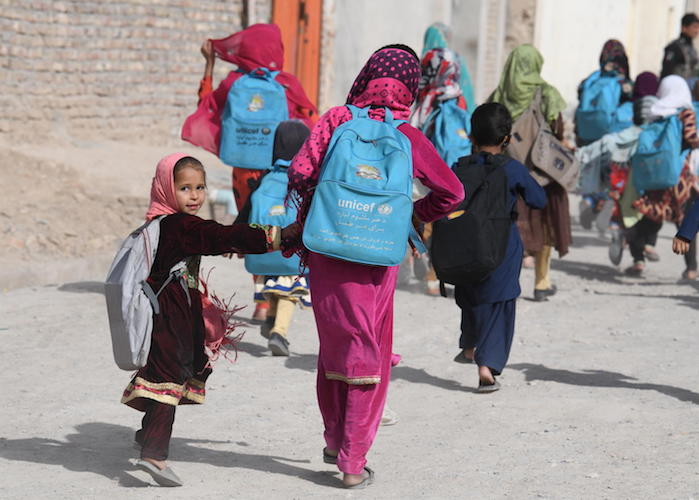 Children going home after school in Kandahar, in the Southern region of Afghanistan.