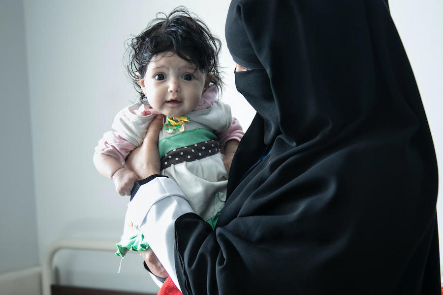 A six-month-old girl suffering from malnutrition checks into a UNICEF-supported hospital in Sana'a for treatment.