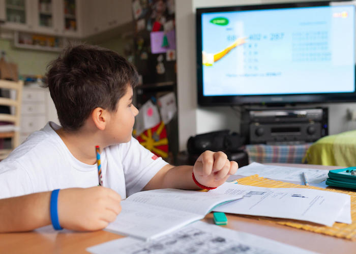 In Skopje, Macedonia, while schools are closed to prevent the spread of the novel coronavirus, 12-year-old Konstantin learns at home by following the TV classroom broadcast on national television, a collaboration with UNICEF and partners.