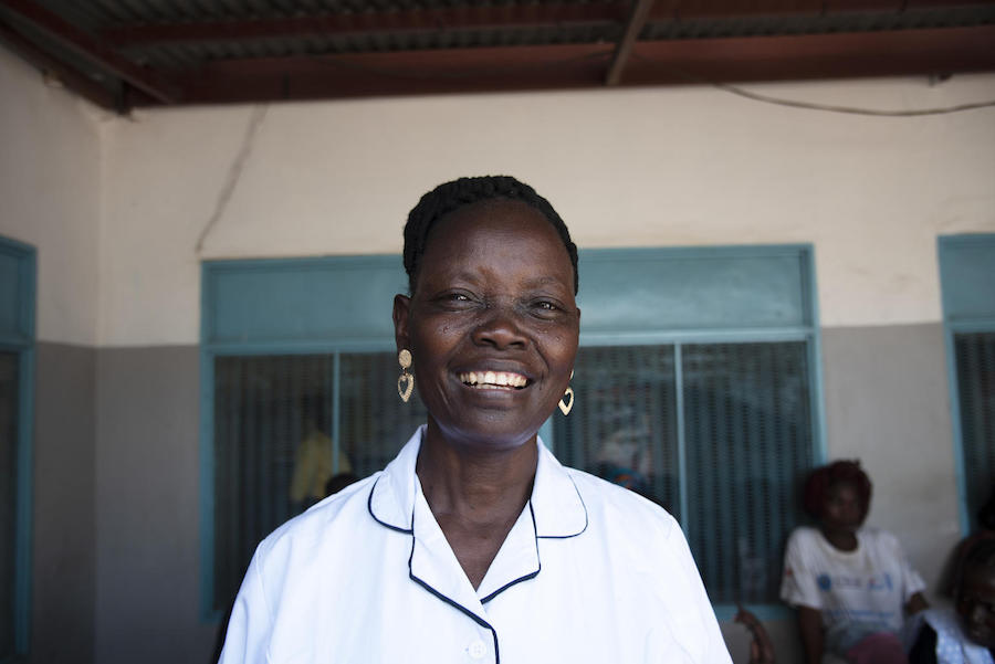 Lillian Nimaya, 45, has been working as a nurse for the past 5 years at the UNICEF-supported Nyakuron primary health care center in Juba, South Sudan.